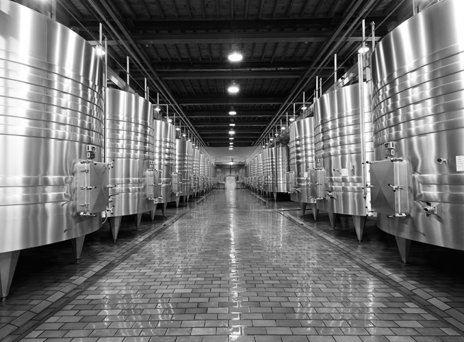 <p>The Château d'Armailhac vat room, entirely gravity-fed, contains 23 stainless steel vats.</p>