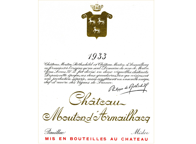 <p>In 1931, the young Baron Philippe de Rothschild became a minority shareholder of the Société Anonyme du Domaine de Mouton d'Armailhacq, then in 1933 acquired all the shares from the Comte de Ferrand in return for a life annuity.</p>